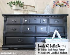 Redposie Resale Vintage Furniture, https://www.facebook.com/redposie?fref=ts, shared this lovely buffet that was painted with General Finishes Lamp Black Milk Paint. #gfmilkpaint #generalfinishes