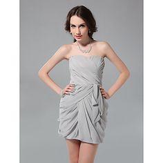 Sheath/ Column Strapless Short/ Mini Chiffon Cocktail Dress – USD $ 99.99