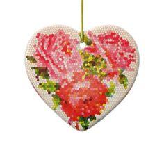 Victorian Heart Of RosesHeart Shaped Valentine's Ornaments