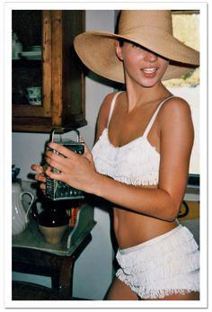 Kate Moss, hat, white fringe bikini