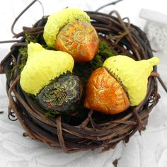 Sunny Yellow Acorn Decorations  Handmade Polymer Clay by LavaGifts, $9.00