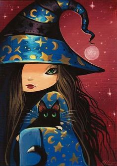 cute WITCH with black cat