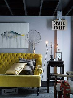 like decor, interior, grey walls, fish art, dream, colors, yellow, live room, couches