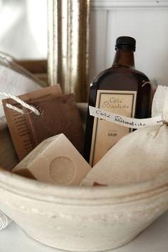 A lovely bowl filled with Cote Bastide toiletries for the guest bath.    I love Cote Bastide Fig parfum.