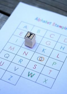 Free printable alphabet stamping sheet.