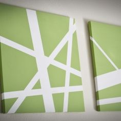 All you need to create some modern canvas art is some canvas, painters tape, a brush and whatever color paint you want.