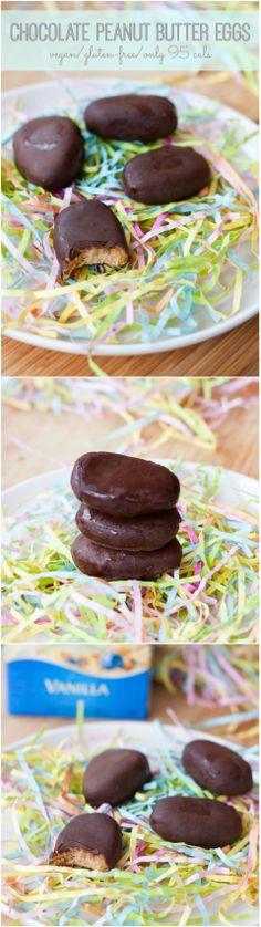 Homemade Chocolate Peanut Butter Eggs #vegan #glutenfree