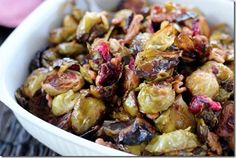 Cranberry Orange Brussels Sprouts with Walnuts.