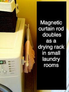 Magnetic curtain rod adds a drying rack in the laundry room. magnetic curtain, small laundry room, magnet curtain, curtain rods, laundry room curtains, laundry rooms, small laundri, laundri room, dri rack