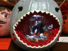 A Shark pumpkin Halloween fish bowl. How cool!