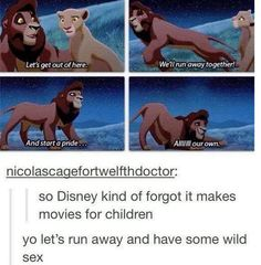 "True... I laugh every time at this part, and the kids I watch are like ""what the heck is wrong with cassie?"" thoughts, disney movies, laugh, lets run away, giggl, funni, hilarious pictures, lion king, disney kind"