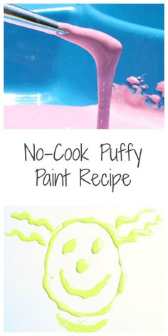 No-Cook Puffy Paint Recipe~Easy 2-ingredient that is edible and safe for kids of all ages