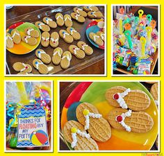 6th Birthday Pool Party ~ party favors  Nutter Butter flip flop cookies | {Five Heart Home}