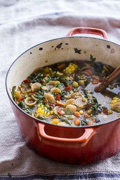 Tuscan Summer Minestrone with Sun-Dried Tomato Pesto | halfbakedharvest.com @DeLallo
