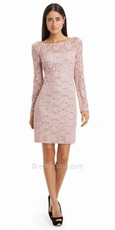 Long Sleeve Floral Lace Sequined Cocktail Dresses by JS Collection-image