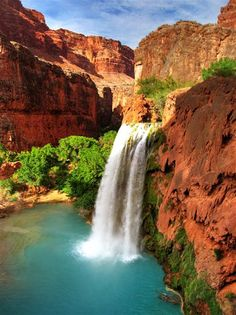 Happy/proud to say I have camped at the bottom of these falls. 11 mile hike into the Grand Canyon and 10 out. Havasupai Falls AZ... GORGEOUS!