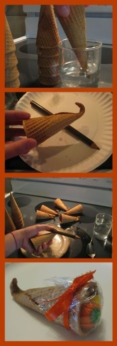 Make an ice cream cone cornucopia / 30 Cute And Clever Ways To Decorate For Thanksgiving