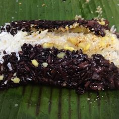 Xôi Nếp Than (Black Sticky Rice with Coconut and Mung Beans)
