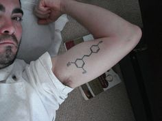 """Nico writes: """"Attached is my 'science' tattoo: the molecule resveratrol.  found in red wine, I wrote my dissertation on its potential biochemical attributes as a metastatic breast cancer preventative.  Then I got out of research to learn how to make wine. That's what I do now. I think it's better to make wine than study it."""""""