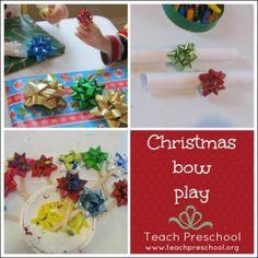 Christmas bow play by Teach Preschool
