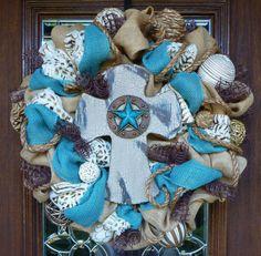 BURLAP Wreath with WESTERN CROSS by decoglitz on Etsy