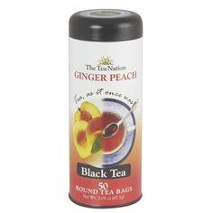 The Tea Nation Ginger Peach Tea, Black Tea, 50-Count Round Tea Bags (Pack of 3)