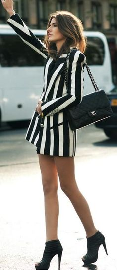 Black and White Striped Long Jacket by Ring My Bell