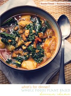 roasted tomato soup with kale & potatoes
