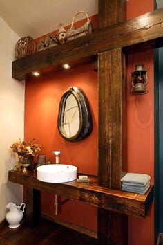 Wonderful Timber-Framed House Interior Designs: Exquisite Powder Room Wooden Vanity Modern Timber Framed Home