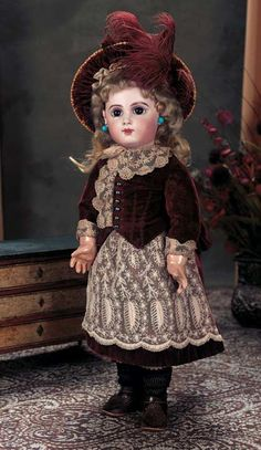 Gorgeous French Bisque Brown-Eyed Bebe E.J. by Jumeau with Original Costume