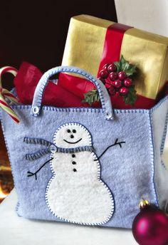 gift, felt bag pattern, felt bags, felt christmas bags, felt snowman