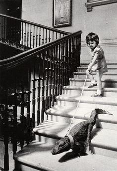 There she goes, walking her gator like a boss!
