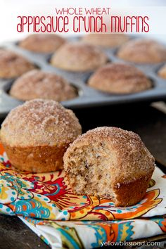 Whole Wheat Applesauce Crunch Muffins made with Grape Nuts!