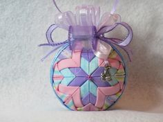 Quilted no sew fabric ornament  pink blue and by KCFabricOrnaments, $15.00