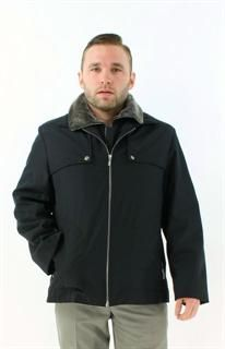 All Weather Handsome Black Fabric Shearling Jacket