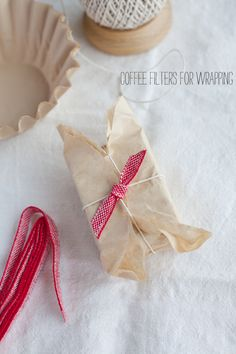 Coffee filter wrapping paper for homemade hostess gifts