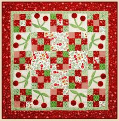 """""""Very Cherry""""...cute little table top quilt...I can see this in my Grandma's red and white kitchen, ala 1950."""