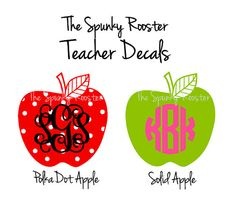 Spunky Teacher Monogram Decals by TheSpunkyRooster on Etsy, $5.00