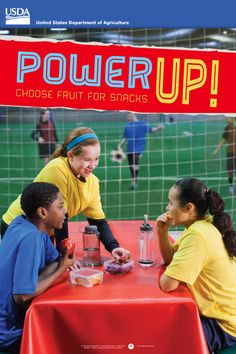 Power Up! Encourage kids to eat #fruit as a snack with this #free poster for middle #schools. #physed #education #nutritioneducation http://www.fns.usda.gov/tn/middle-school-posters