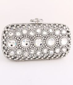 Chunky Austrian Crystal Minaudiere in Clear or Blue Sapphire $298.00