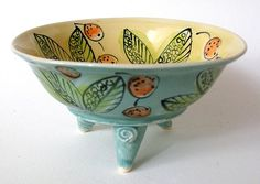 Decorative Handmade Stoneware Bowl Footed Leaf and by JoyceSloanim, $40.00