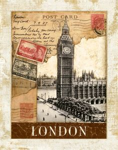 London Postmark  Big Ben Clock Tower 11x14 by TinaChadenDesigns, $11.99