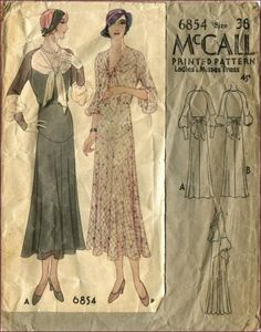very early 1930s McCall dress pattern  Really Lovely!