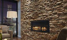 Stone fireplace.