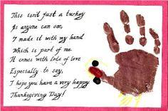 Thanksgiving Handprint Turkey & poem