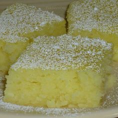 Two Ingredient Lemon Bars ~ Mix together 1 Angel food cake mix and 2 cans of lemon filling. 9 x 13″ baking pan 350 degrees for 25 minutes or until top is starting to brown.