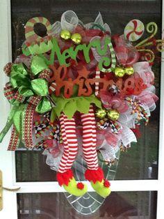 Elf deco mesh Christmas Wreath holiday wreath by WreathsEtc