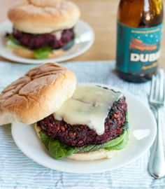 Beet, black beans, and rice veggie burgers