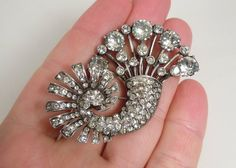 Eisenberg Sterling Silver Rhinestone Brooch Cornucopia Pin   eBay