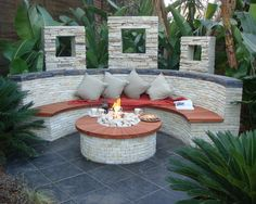 outdoor bench, yard, desert scape, fire pit
